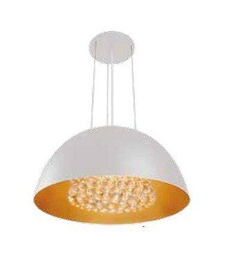 Pendente Newline Iluminação 8000 Cônico Metal Branco Cristais 28x55cm 6x G9 Halopin Bivolt 110v 220v SNT810BTDO Sala de Jantar Quarto e Cozinha