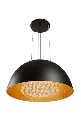 Pendente Newline Iluminação 8000 Cônico Metal Preto Cristais 28x55cm 6x G9 Halopin Bivolt 110v 220v SNT810PTDO Sala de Jantar Quarto e Cozinha