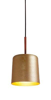 Pendente Newline Iluminação Bilboque Tubo Redondo Metal Bege Cabo 5m 20x35 1x E27 Bivolt 110v 220v 111X-NLN Sala de Jantar Quarto e Cozinha