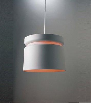 Pendente Newline Iluminação Halo Tubo Redondo Metal Branco 28x36,5cm Lâmpada E27 Bivolt 110v 220v 142BTBT Sala de Jantar Quarto e Cozinha