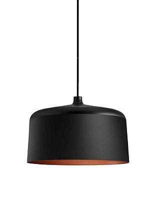 Pendente Newline Iluminação Hut Bacia Redondo Metal Preto Cobre 23,5x35cm Lâmpada E27 25W 132PTCO Sala de Jantar Quarto e Cozinha