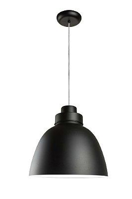 Pendente Newline Iluminação New Industrial Conico Oval Metal Preto 39x40cm Lâmpada E27 25W SNT366PTBR Sala de Jantar Quarto e Cozinha