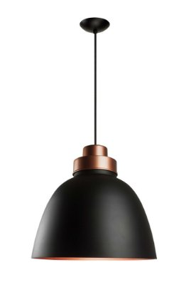 Pendente Newline Iluminação New Industrial Conico Oval Metal Preto 39x40cm Lâmpada E27 25W SNT366PTCOCO Sala de Jantar Quarto e Cozinha