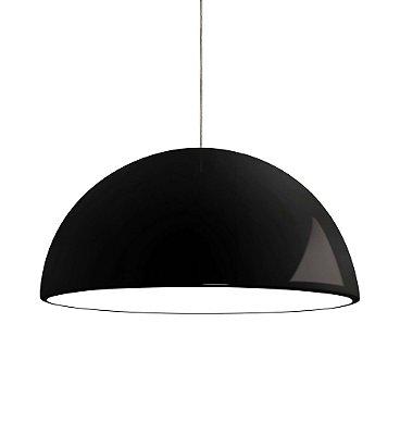 Pendente Newline Iluminação New Round 1/2 Esfera Metal Preto 34x60cm 2x E27 25W Bivolt 110v 220v SNT346PT Sala de Jantar Quarto e Cozinha