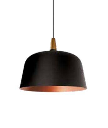 Pendente Newline Iluminação Wood Bacia Redondo Metal Preto 42x50cm 3x E27 25W Bivolt 110v 220v SN10181PTCO Sala de Jantar Quarto e Cozinha