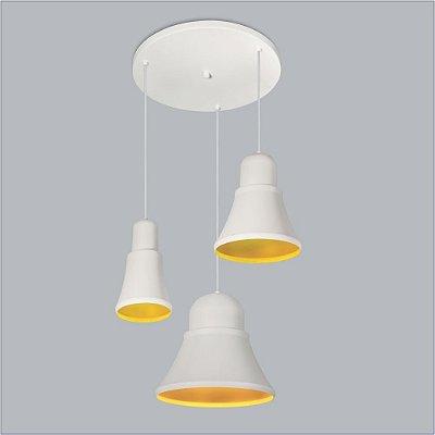 Pendente Usina Design Beluga Moderno Mix 3D Metal Branco 25x40cm 1x E27 Bivolt 110v 220v16027-3 Hall Salas