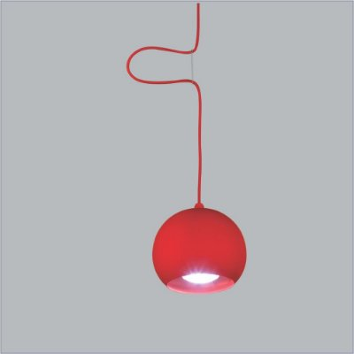 Pendente Usina Design Pelota Pequeno  Cupula Esferica Metal vermelho 10x15cm 1x E27 Bivolt 110v 220v16130-15 Sala Estar Mesas