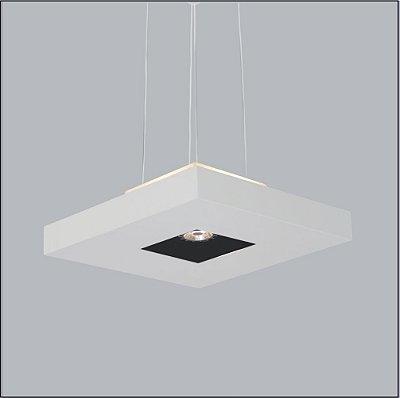 Pendente Usina Design Quadrado Acrílico Branco Central 40x40 Bore 4 E27 + 01 AR 4602/40 Quartos Salas