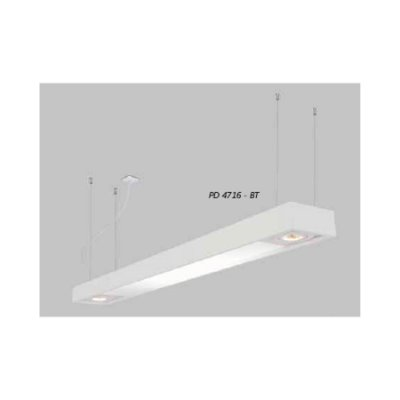 PENDENTE Usina Design Retangular TROPICAL SLIM CAÇO FIO RYON 4716/150FDC 4T8 LED 120CM 02 GU10 MR16 150X1500X85