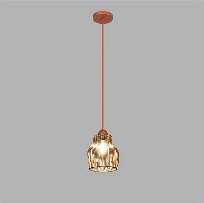 PENDENTE Usina Design VETRO 17012/1 Sala Quarto Cozinha 1 E27 Ø150x230x1000