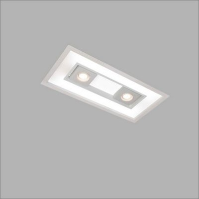 Plafon EMBUTIDO Usina Design FOCUS 305x1235x100mm 4555/125 Sala Estar Cozinhas Quartos 4xT8 120CM 2GU10 MR16 325x1260x100