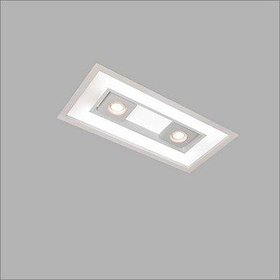 Plafon EMBUTIDO Usina Design FOCUS 305x632x100mm 4555/65 Sala Estar Cozinhas Quartos 4xT8 60CM 2GU10 MR16 325x650x100
