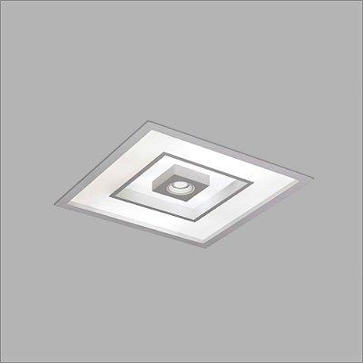 Plafon EMBUTIDO Usina FOCUS 475x475x100mm 4552/50 Salas Cozinhas Quartos 8 E27 01 GU10 MR16 500x500x100