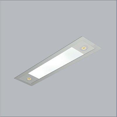 Plafon EMBUTIDO Usina Design RETANGULAR RULER 175X870X100 3720/90F Teto Gesso Sancas 4 T8LED 60 cm/2 PAR20 200X900X100