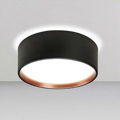 Plafon Newline Iluminação Circle Redondo Sobrepor Metal Acrílico 14,5x37cm 4x E27 23W Bivolt 110v 220v SN10151PTCO Sala Quarto e Cozinha