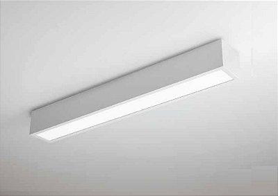 Plafon Newline Iluminação V Sobrepor Retangular Metal Acrílico 7,5x60cm PCI LED 15W Bivolt 110v 220v 460LED3BT Sala Quarto e Cozinha