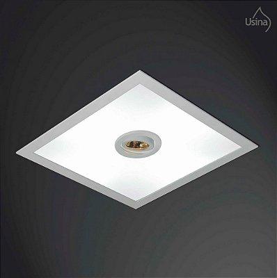 Plafon Usina Design Embutido Quadrado  acrílico leitoso Bivolt 110v 220v38x38 Ruler E-27 3701/38 Banheiros Lavabos Quartos