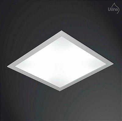 Plafon Usina Design Embutido Quadrado  acrílico leitoso Luminária Bivolt 110v 220v38x38 Ruler E-27 3700/38 Banheiros Lavabos Salas