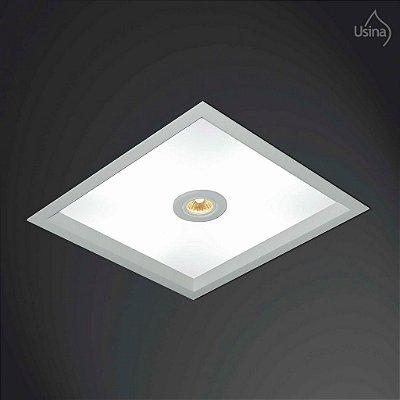 Plafon Usina Design Embutido Quadrado Branco  acrílico leitoso Bivolt 110v 220v32x32 Suprema Dicróica E-27 3002/32 Banheiros Lavabos Salas