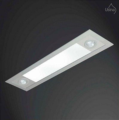 Plafon Usina Design Embutido Retangular Metal Bivolt 110v 220v16x1,5m Ruler T8 Dicróica 3716/150f Cozinhas Salas