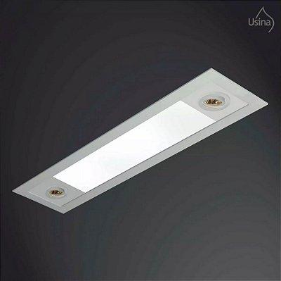 Plafon Usina Design Embutido Retangular Metal Bivolt 110v 220v20x1,5m Ruler T8 AR 70 3721/150F Cozinhas Quartos