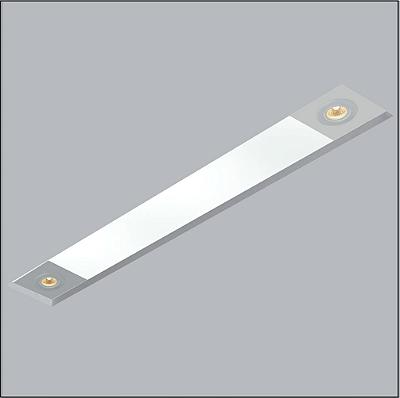 Plafon Usina Design Now Frame Embutido Retangular  acrílico leitoso 12x84cm 2 T8 Tubo/ 2 GU10 30090-79 Sala Estar Entradas
