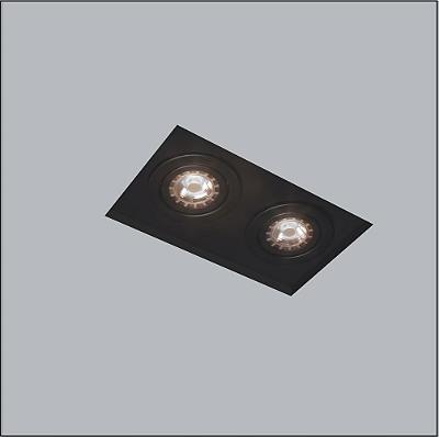 Plafon Usina Design Now Frame Embutido Retangular  acrílico leitoso Preto 27x13cm 2x PAR20 30220-32 Quartos Banheiros Lavabos