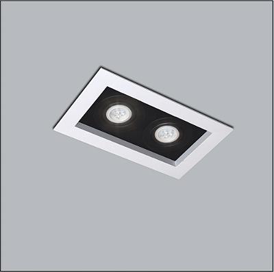 Plafon Usina Design Premium Embutido Retangular  acrílico leitoso Preto 17x32cm 2x AR70 Bivolt 110v 220v4321-32 Sala Estar Quartos