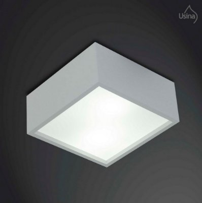 Plafon Usina Design Quadrado 38x38cm Sobrepor Luminária Teto Sala Quarto Varanda Loja Cozinha 4000/38 Usina Design