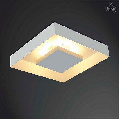 Plafon Usina Design Quadrado Metal Fosco Branco Luz Indireta 45x45 Home E-27 251/5e Sala Estar Escritórios.