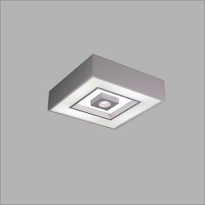 PLAFON Usina Design QUADRADO FOCUS com 04 BOX 4550/46 Sala Estar Cozinhas Quartos 4 E27 04GU10 MR16 450x450x120
