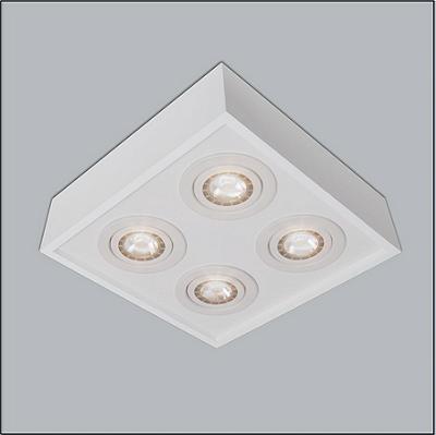 PLAFON Usina Design QUADRADO PREMIUM 4503/35 Sala Estar Cozinhas Quartos 4 PAR30 350X350X150