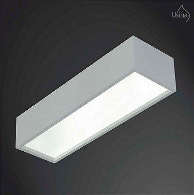 Plafon Usina Design Retangular Metal Fosco  acrílico leitoso 1,25m Tropical T8 4015/125f Sala Estar Quartos
