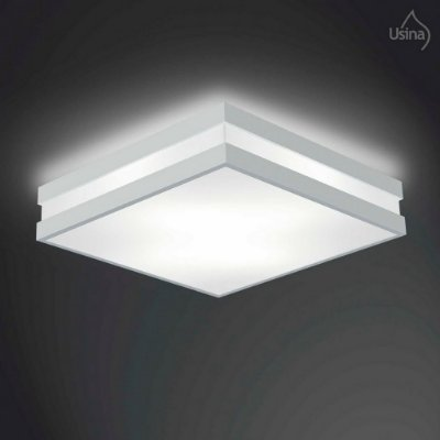 Plafon Usina Design Sobrepor  acrílico leitoso Quadrado 25x25 Modular E-27 3800/25 Cozinhas Escadas