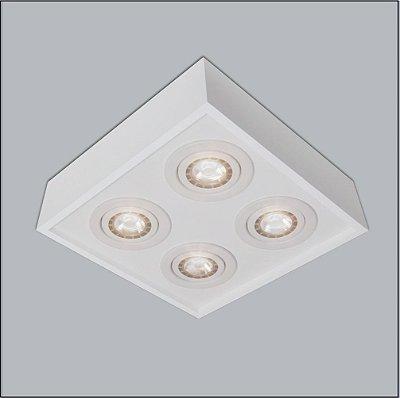 Plafon Usina Design Sobrepor Quadrado Metal Branco 20x20 Premium Ar70 4502/25 Sala Estar Escritórios
