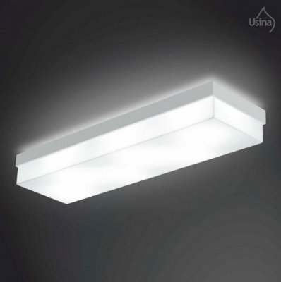 Plafon Usina Design Sobrepor Retangular  acrílico leitoso Branco 47x20 Flutua E-27 3920/46 Sala Estar Quartos