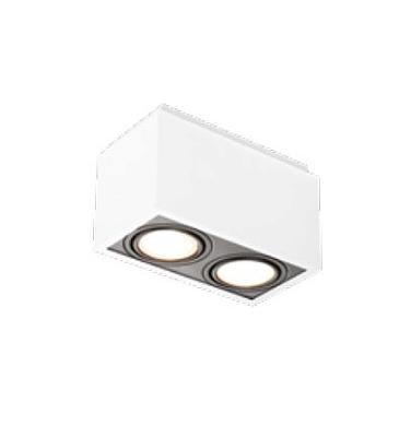 Spot Newline Iluminação Box Duplo Sobrepor Alumínio Acrílico Branco 21,9x11,6cm 2x E27 PAR20 IN40132BTPT Tetos e Gesso