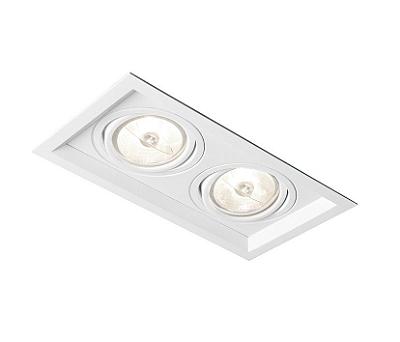 Spot Newline Iluminação Recuado Duplo II Embutir Metal Branco 15x32cm 2x E27 PAR30 75W IN51362BT Tetos e Gesso