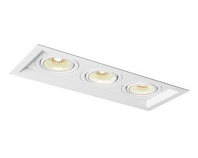 Spot Newline Iluminação Recuado Triplo II Embutir Metal 34x8cm 3x GU10/GZ10 AR70 LED IN51343BT Tetos e Gesso