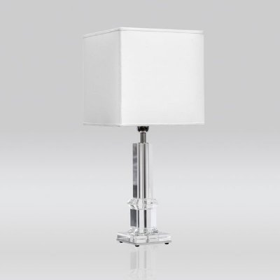 Abajur Golden Art Contemporâneo Vidro Cristal Cúpula Quadrada Tecido 110v 220v Bivolt 73cm Altura (H) E-27 MC009 Quartos Salas