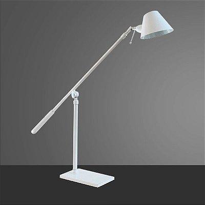 Abajur Golden Art Luminária Articulação Branca Metal Cúpula 110v 220v Bivolt 76cm Altura (H) Zull G9 M786 Sala Estar Saguão