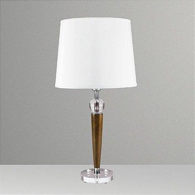Abajur Golden Art Rústico Madeira Maciça Cristal Cúpula Tecido 110v 220v Bivolt 60cm Altura (H) Gaya E-27 M721 Quartos Salas