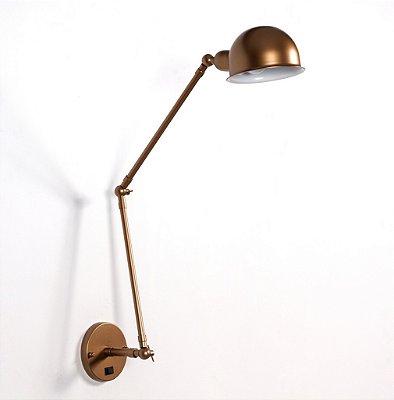 Arandela Golden Art Baboo Linear Com Articulação Metal Vintage 40x9cm 1x Lamp. E27 110v 220v Bivolt P1060-20 Quartos Mesas