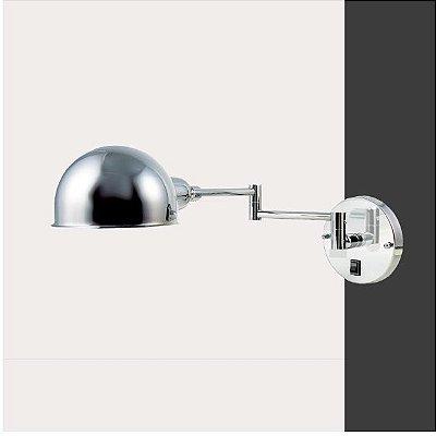 Arandela Golden Art Amb. Interno Com Articulação Metal Cromo Cúpula Esfera 14x50 Juddy G9 P204 Quartos Salas