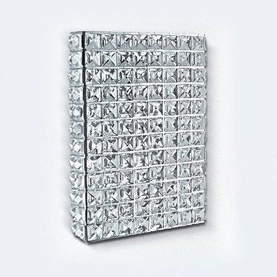 Arandela Golden Art Amb. Interno Retangular Placa Cristal Asfour Translucido Metal 29x20 G9 PC001 Banheiros Quartos