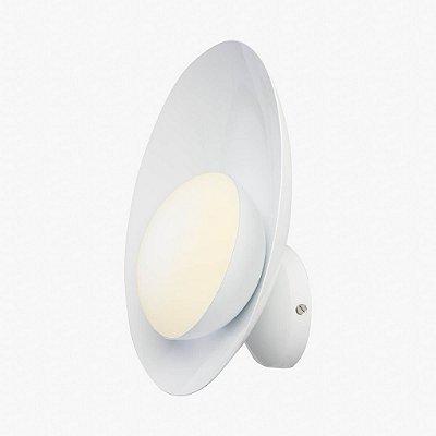 Arandela Golden Art Orvalho LED Curva Moderna Metal Branco 27x27cm 1x LED 3 Watts P1820-1 Cama, Cabeceira Cama, Salas, Escritórios Home Office
