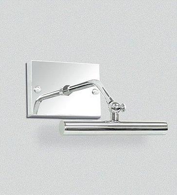 Arandela Golden Art para Espelho Quadro Canopla Retangular Cromo Calha Metal 16cm Halógena P371-A Banheiros Salas