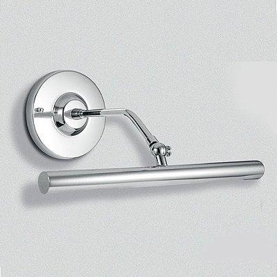 Arandela Golden Art Para Espelho Quadro Amb. Interno Tubo Metal Cromo Cúpula Calha 30cm  G9 P303 Banheiros Salas
