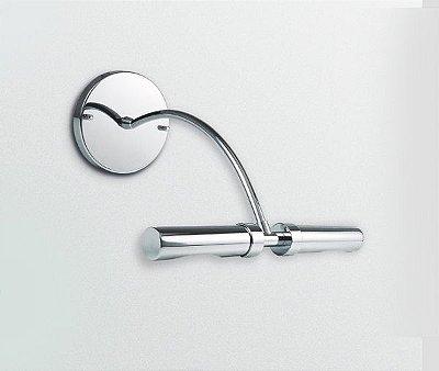 Arandela Golden Art Para Espelho Quadro Tubo Contemporâneo Calha Cromo 30cm G9 P908 Banheiros Salas