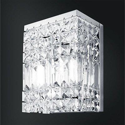 Arandela Golden Art Retangular Cristal Asfour Trabalhado Luminária Cromo 15x10 Laila G9 P921 Quartos Salas